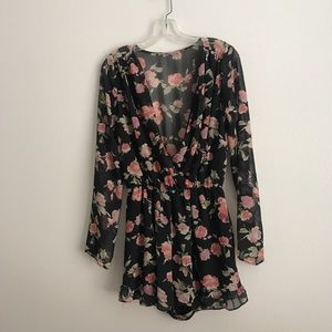 Foreign Exchange Long Sleeve Floral Romper